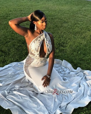 Flower Appliques One-shoulder Mermaid Party Dresses | 2020 Sexy Sleeveless Long Formal Dresses bk0_1