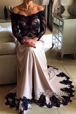 Elegant Lace Appliques Mermaid Prom Dresses | Off The Shoulder Long Sleeves Evening Dresses_1