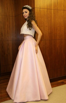 Delicate Beadings Two Piece Prom Dress 2020 A-line Floor-length_5