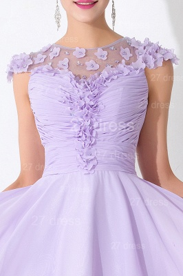 Lovely Illusion Cap Sleeve Chiffon Homecoming Dress With Flowers Beadings_2