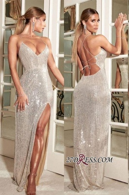 Shiny Floor-length Luxury Halter Side-slit Sheath Prom Dress_1