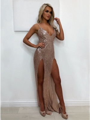 Sexy V-Neck 2020 Sequins Prom Dress   Long Evening Party Gowns With Split BA9873_1