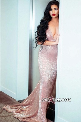 Sexy Spaghetti-Straps V-Neck Mermaid Prom Dress | Pink Sequins Sleeveless Evening Gown_2