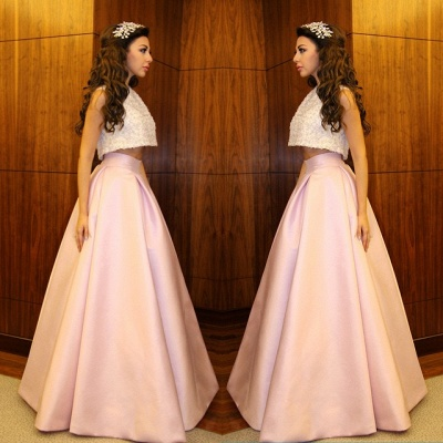 Delicate Beadings Two Piece Prom Dress 2020 A-line Floor-length_3