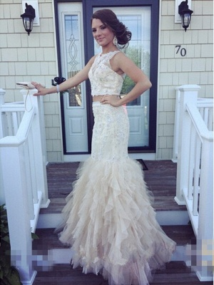 Gorgeous Two Pieces Mermaid Prom Dresses 2020 Appliques Beaidngs Tulle_1