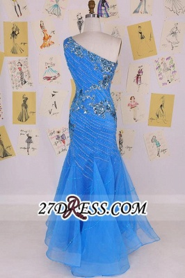 Mermaid Sexy Long One-Shoulder Sleeveless Crystal Evening Gowns_3