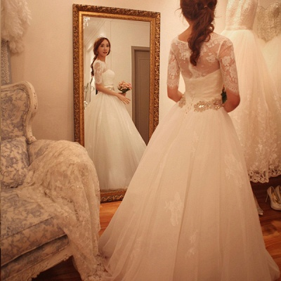 Elegant Half-Sleeve Tulle Lace Wedding Dresses 2020 A-Line With Crystal_4