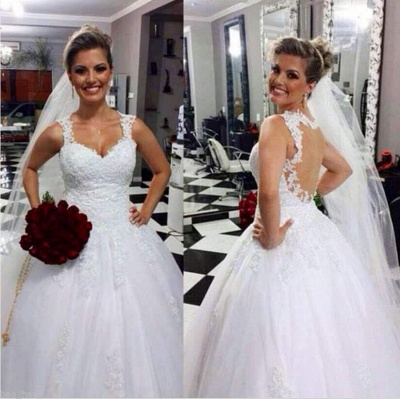 Elegant Sweetheart Sleeveless Tulle Wedding Dress With Lace Appliques_1
