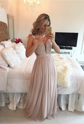 Elegant High Neck Sleeveless Long Prom Dress Lace Pearls Chiffon Evening Gowns BT0_4