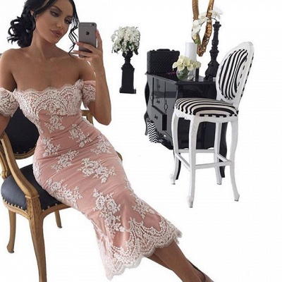 2020 Sexy Tea-Length Bodycon Lace Off-the-shoulder Prom Dress_3