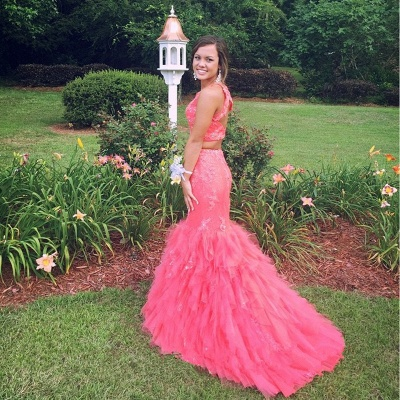 Gorgeous Two Pieces Mermaid Prom Dresses 2020 Appliques Beaidngs Tulle_6