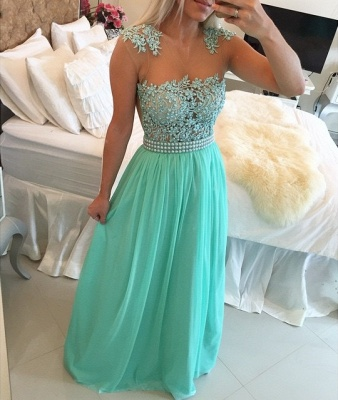Glamorous Chiffon Long Prom Dress With Pearls And Lace BT0_2