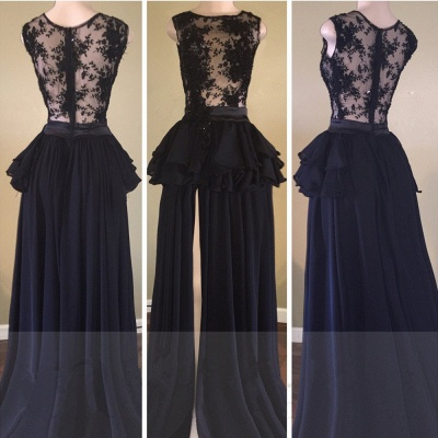Delicate Lace Chiffon Black Long Prom Dress | Front Split 2020 Formal Dress_2
