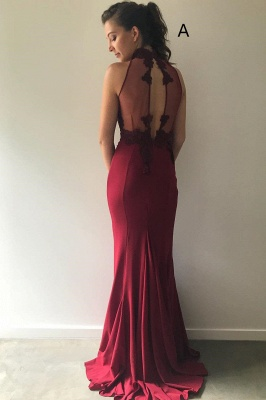 Gorgeous Halter Sleeveless Mermaid Evening Gowns | Burgundy Lace Appliques Prom Dress On Sale_4