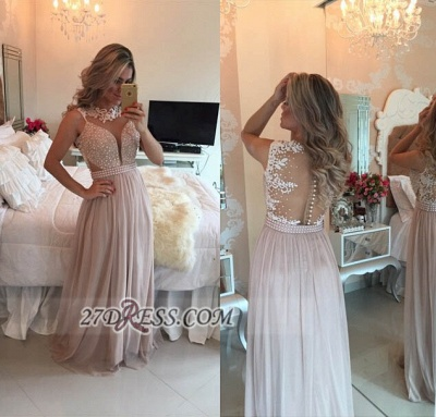 Elegant High Neck Sleeveless Long Prom Dress Lace Pearls Chiffon Evening Gowns BT0_3