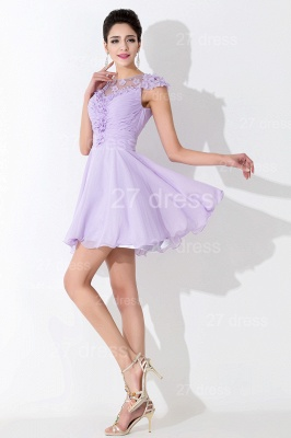 Lovely Illusion Cap Sleeve Chiffon Homecoming Dress With Flowers Beadings_3