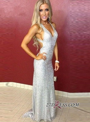 Mermaid Long Sequined Sleeveless Newest Straps Prom Dress_3