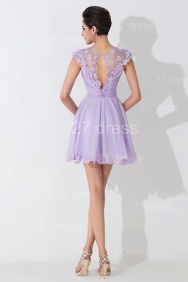 Lovely Illusion Cap Sleeve Chiffon Homecoming Dress With Flowers Beadings_4
