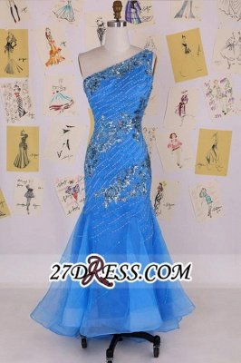 Mermaid Sexy Long One-Shoulder Sleeveless Crystal Evening Gowns_4