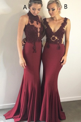 Gorgeous Halter Sleeveless Mermaid Evening Gowns | Burgundy Lace Appliques Prom Dress On Sale_2