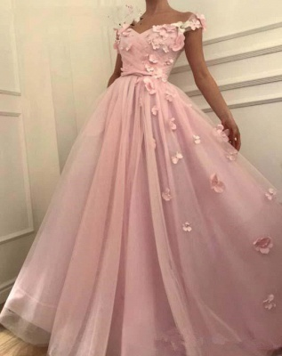 Elegant Off-the-Shoulder Pink Prom Dress | 2020 Long Flowers Tulle Evening Gowns TMD BC0908_3