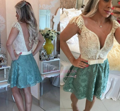 Backless Short Cap-Sleeves A-Line Beaded Lace Homecoming Dresses_1