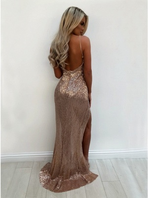 Sexy V-Neck 2020 Sequins Prom Dress   Long Evening Party Gowns With Split BA9873_3