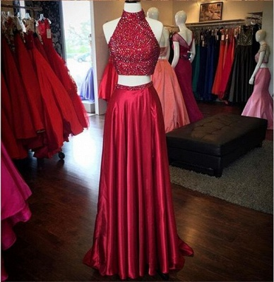 Sexy Red Beading 2020 Prom Dress Two Piece Front Split BA3198_3