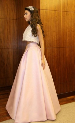 Delicate Beadings Two Piece Prom Dress 2020 A-line Floor-length_4