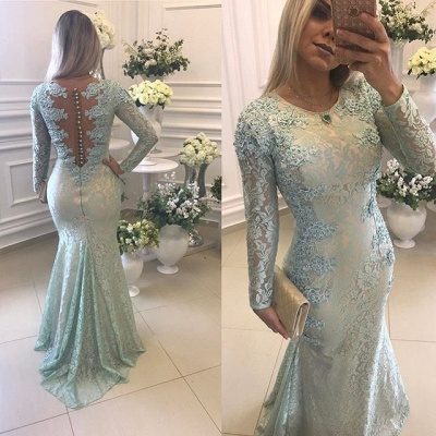 Glamorous Long Sleeve Lace 2020 Evening Dress Mermaid Zipper Button Back Long Party Dress BMT BA9342_3