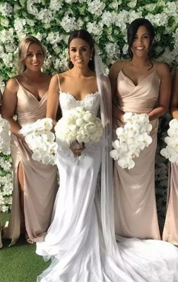 Elegant Spaghetti-Strap V-Neck Long 2020 Bridesmaid Dress On Sale With Slit_2