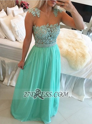 Glamorous Chiffon Long Prom Dress With Pearls And Lace BT0_3