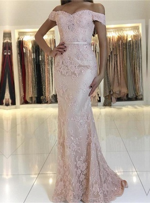 Charming Pink Lace Prom Dresses | 2020 Mermaid Evening Gowns On Sale BC0426_1