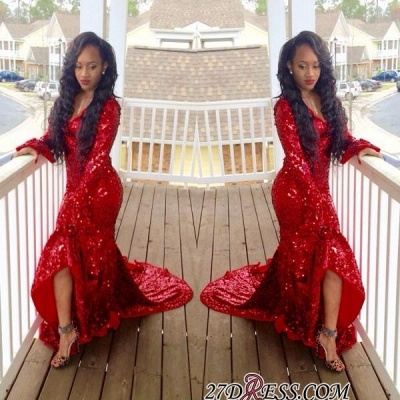 2020 Hi-Lo Red Mermaid Gorgeous Sweep-Train Long-Sleeve Sequined Prom Dress_3