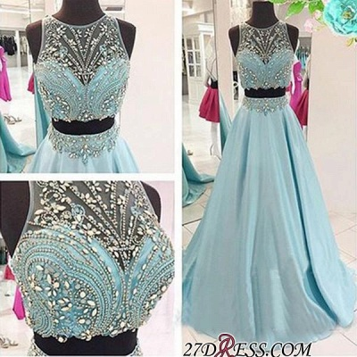 Two-Piece Crystals Elegant Long Beaded Blue Prom Dresses_1