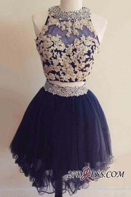 Navy Two-Pieces Beaded Cheap Short Blue Homecoming Dresses BA6928_3