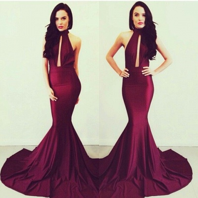 Sexy Red Mermaid Evening Gowns with 2020 Wine Halter Sleeveless Satin Court Train Prom Gowns_2