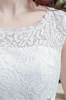 Elegant Illusion Lace Beadings 2020 Wedding Dress Cap Sleeve Zipper_4