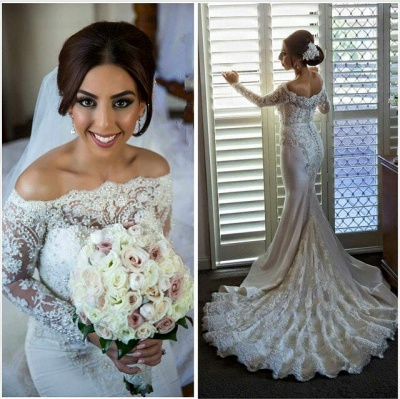 Sexy Off-the-shoulder Long Sleeve Mermaid Wedding Dress With Lace Beadings_1