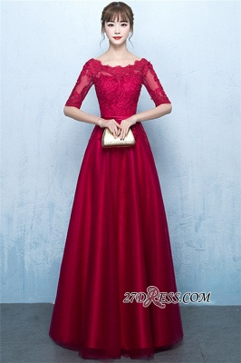Floor-Length Half-Sleeves A-Line Lace Lace-Up Glamorous Evening Dresses_5