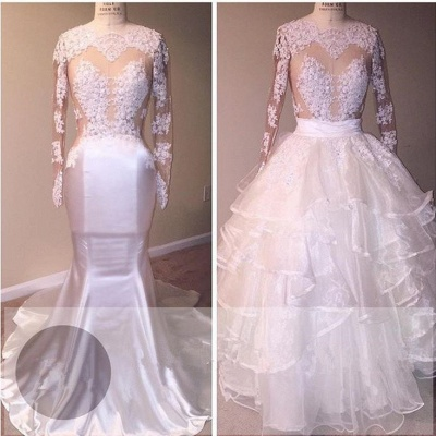 Newest Ruffled Lace Appliques White Wedding Dress   Long Sleeve Bridal Gown_2