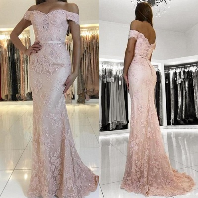 Charming Pink Lace Prom Dresses | 2020 Mermaid Evening Gowns On Sale BC0426_3