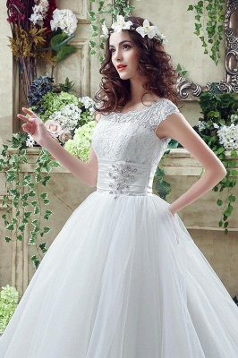 Elegant Illusion Lace Beadings 2020 Wedding Dress Cap Sleeve Zipper_6