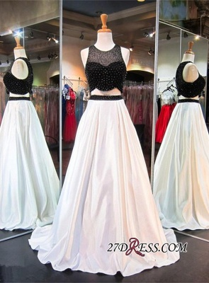 2020 Sleeveless Newest Beads Sweep-Train Two-Piece A-line Evening Dress_2