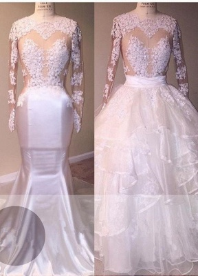 Newest Ruffled Lace Appliques White Wedding Dress   Long Sleeve Bridal Gown_1