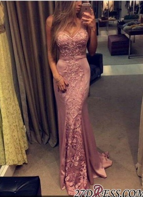 Sleeveless Mermaid Pink Sweetheart-Neck Lace-Appliques Evening Gowns_1