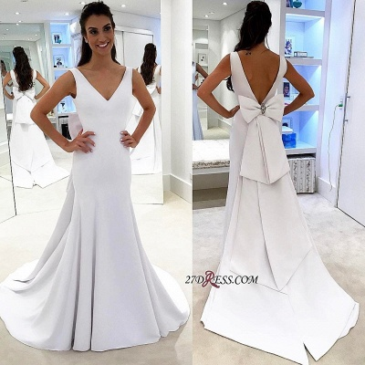 White wedding dress with bowknot, 2020 bridal gowns_2