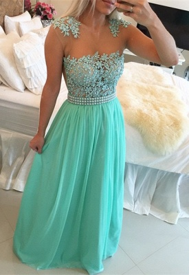 Glamorous Chiffon Long Prom Dress With Pearls And Lace BT0_4