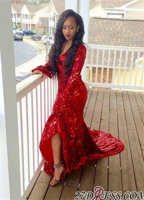 2020 Hi-Lo Red Mermaid Gorgeous Sweep-Train Long-Sleeve Sequined Prom Dress_2