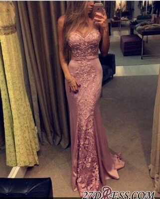 Sleeveless Mermaid Pink Sweetheart-Neck Lace-Appliques Evening Gowns_2